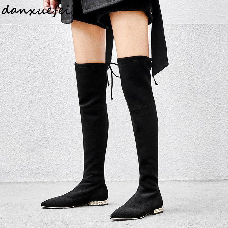 eb7256884d Compre Botas Altas Para Las Mujeres Sobre La Rodilla De Gamuza Genuina Botas  Largas Sin Cordones Negras Delgadas Zapatillas Sin Cordones Altas  Atractivas De ...