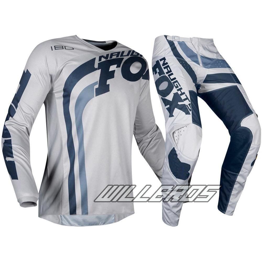 2019 Delicate Jersey Pant Combo Motocross Racewear Dirt Bike Off Road Adult Grey Navy Gear Set