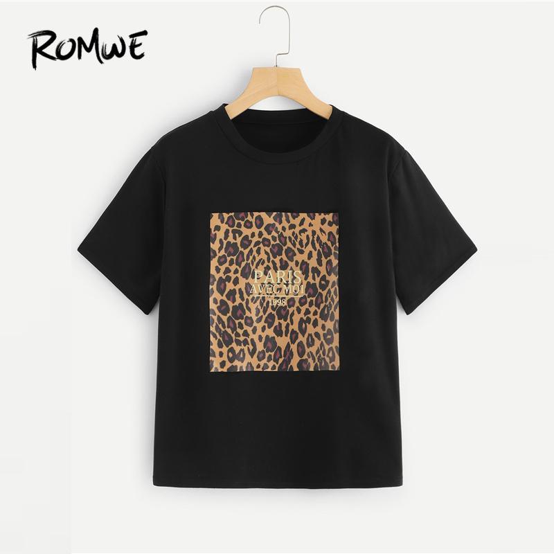7d43854ebb368 Romwe Cheetah Print Tee 2019 Mode Femmes Black Leopard Col Rond Vêtements T  Shirt Graphique D été À Manches Courtes T Shirt J190427