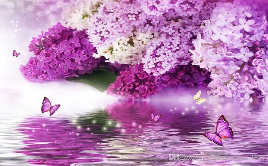beautiful scenery wallpapers Purple flower hydrology reflection butterfly background wall