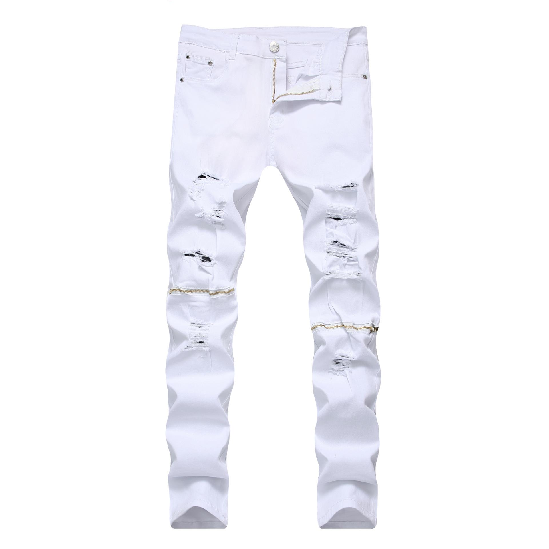 ddfbafdc8b197 2019 Fashion Mens Jeans Brands Straight Slim Fit Biker Jeans Pants  Distressed Skinny Ripped Destroyed Denim Washed Trousers Black From  Easyshoppingstore, ...