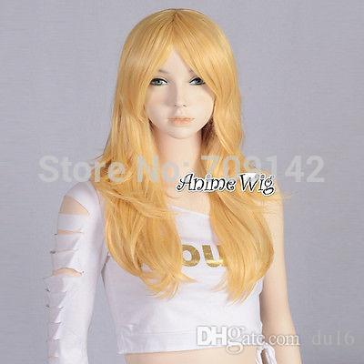 Popular Yellow Golden Long Wavy Style Women Girl Anime Cosplay Party Hair Wig queen Kanekalon hair lace front wigs Free deliver