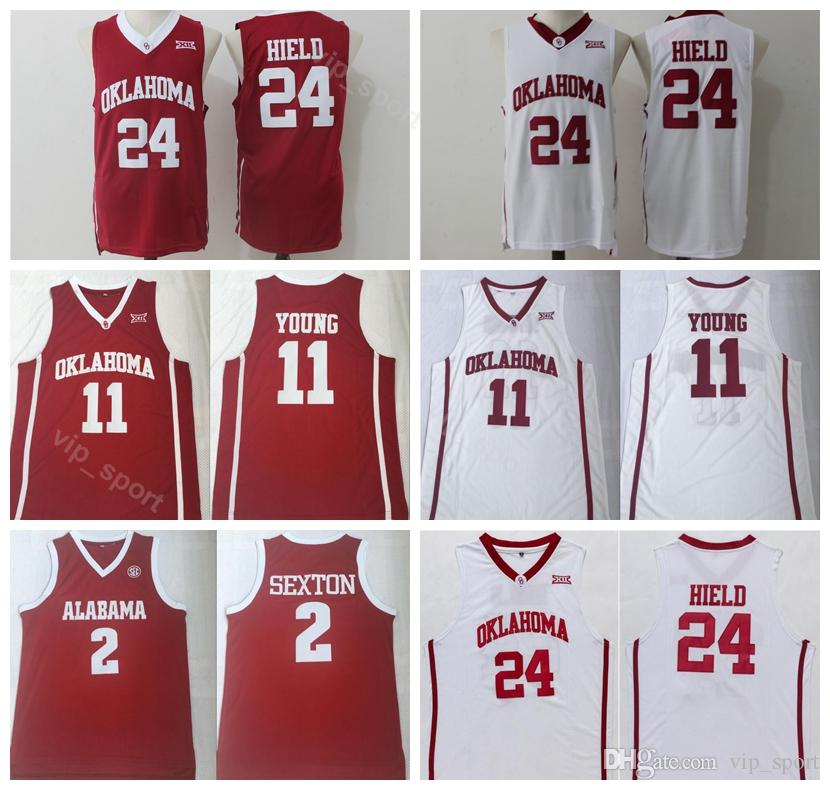 low priced 45aa9 bbcd6 College Trae Young Jersey 11 Men Oklahoma Sooners Basketball Collin Sexton  2 Buddy Heild Jerseys 24 Team Color Red White University Sale