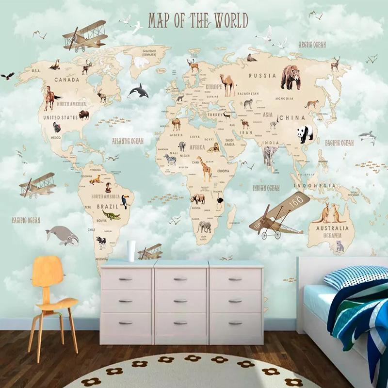 3D Cartoon Mural Wallpaper Modern World Map Photo Wall Painting Children'S Bedroom Boys And Girls Background Wall Decor 3D Mural Wallpaper For Desktop ...