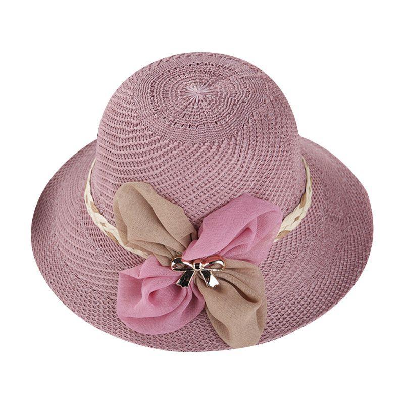 b5c158acb13e Sombrero de paja de verano para mujer Sombrero para el sol Decoración del  Bowknot Cinta de ala ancha Gorro de punto Ropa de playa