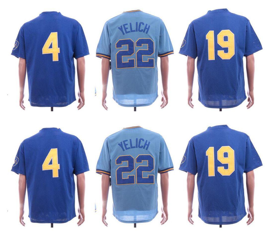 Retro Cheap 22 Christian Yelic Jersey Milwaukee 4 Paul Molitor 19 ... d17b56819