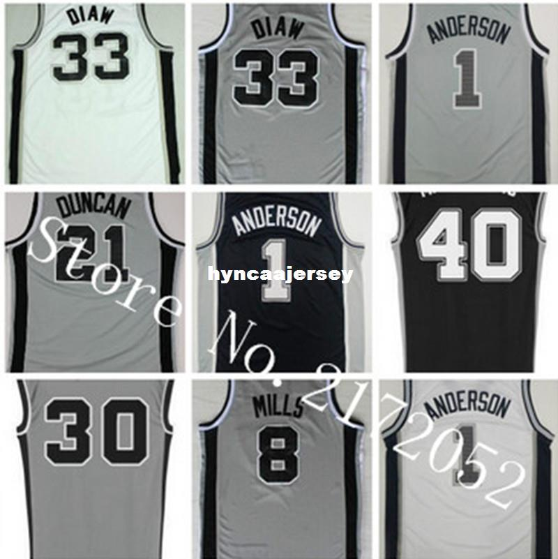 low priced fe7e7 37dec Newest 1 Kyle Anderson 33 Boris Diaw Basketball Jerseys 8 Patty Patrick  Mills 30 David West Jersey Black 40 Boban Marjanovic Ncaa