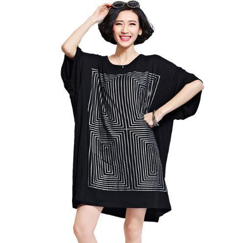 1d552df0ab9 2019 Oversized Shirt Dresses Women Fashion Print Long T Shirt Plus Size  Ladies Tops Tees Black Cotton Dress Female Tunics From Dhh45