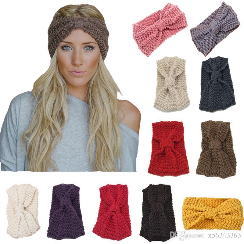 Women Lady Crochet Big Bow Knot Headband Turban Knitted Head Wrap Hairband Winter  Ear Warmer Headband Stretch Hair Band Accessories Paper Party Hats Paper ... 90e7cedf250b