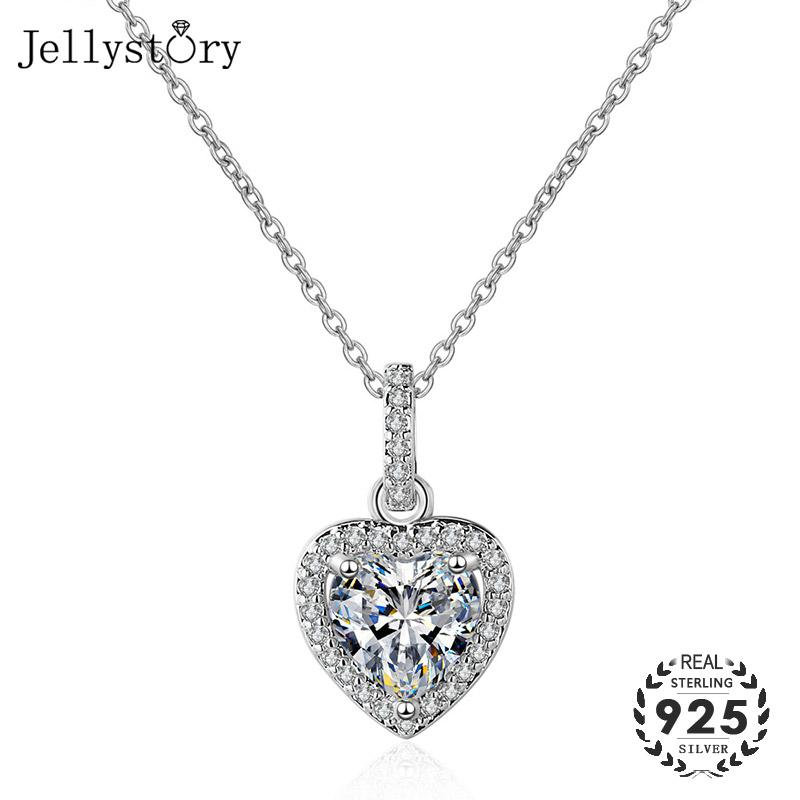 Jellystory Romantic 925 Silver Necklace with Heart-shaped Zircon Gemstones Pendants for Women Fine Jewellery Wedding Party Gifts