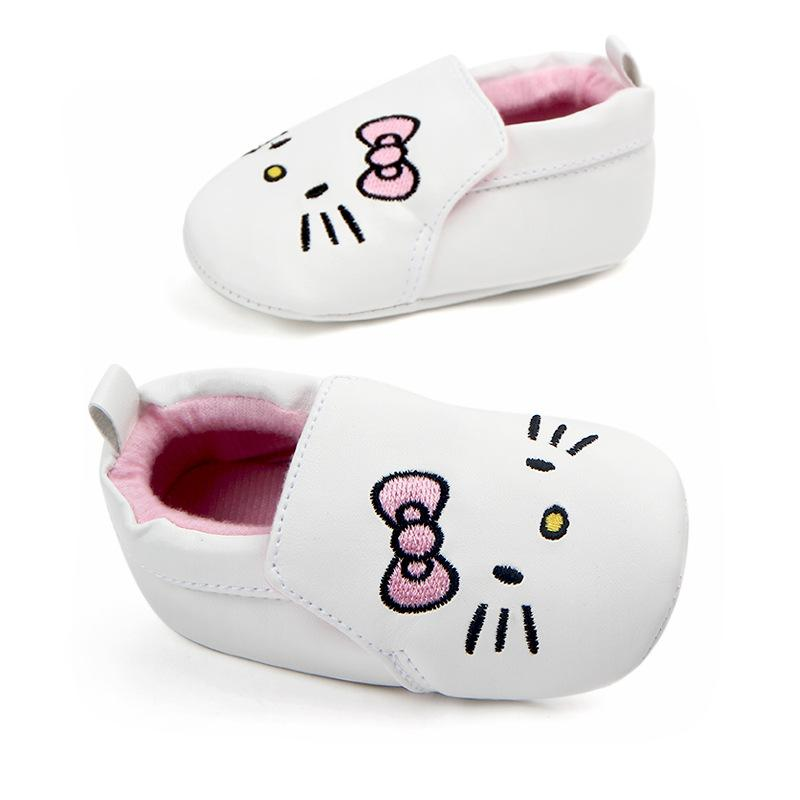1408f137a White Embroidery Hello Kitty Shoes Baby Girls Slip-on Casual Sneakers  Baby's PU Leather First Walker Girls Tennis Shoes Loafers