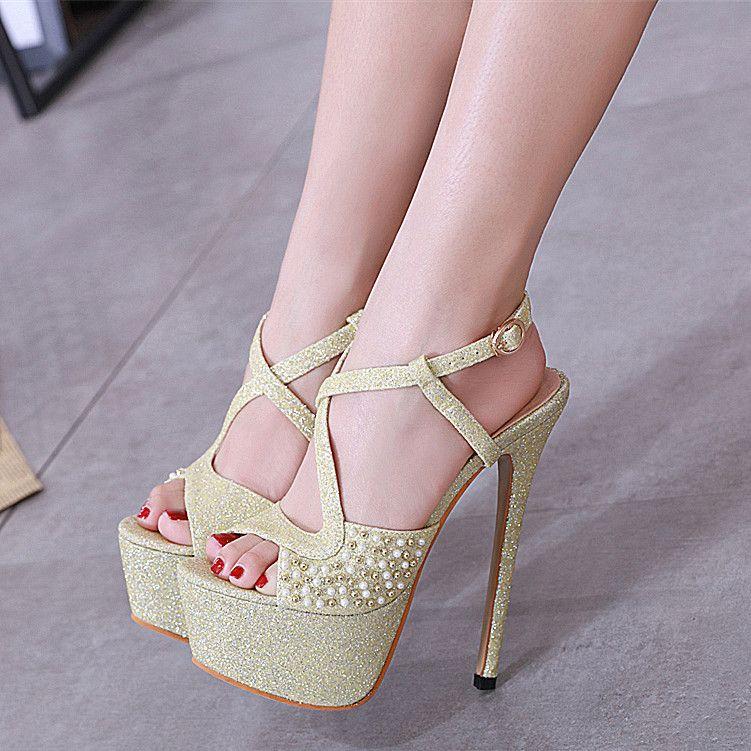 116ffe0b9eaa9 Compre 16 Cm Brillo Luz Dorada Con Lentejuelas Plataforma De Cuentas Tacones  Altos Para Mujer Diseñador Sandalias Novia Zapatos De Boda Tamaño 34 A 40 A  ...