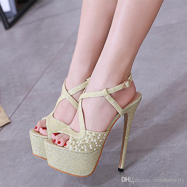 50fd47243b85 16cm Glitter Light Gold Sequined Beaded Platform High Heels Womens ...