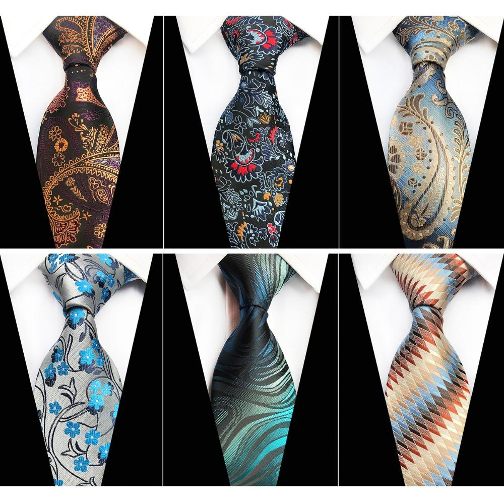 2a67634ed7c1 RBOCOTT Mens Floral Ties Paisley Plaid Necktie Striped Neck Ties For Men  8cm Fashion Gold Red Blue Brown Black Tie For Wedding Mens Ties Necktie  From ...
