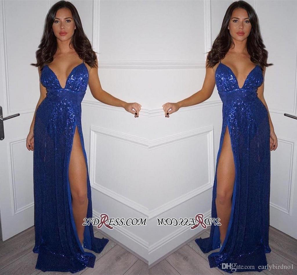 2019 Sexy Fashion Blue Sequined Prom Dresses Spaghetti Straps Sleeveless Side Split Evening Dresses Cheap Party Dresses Floor Length