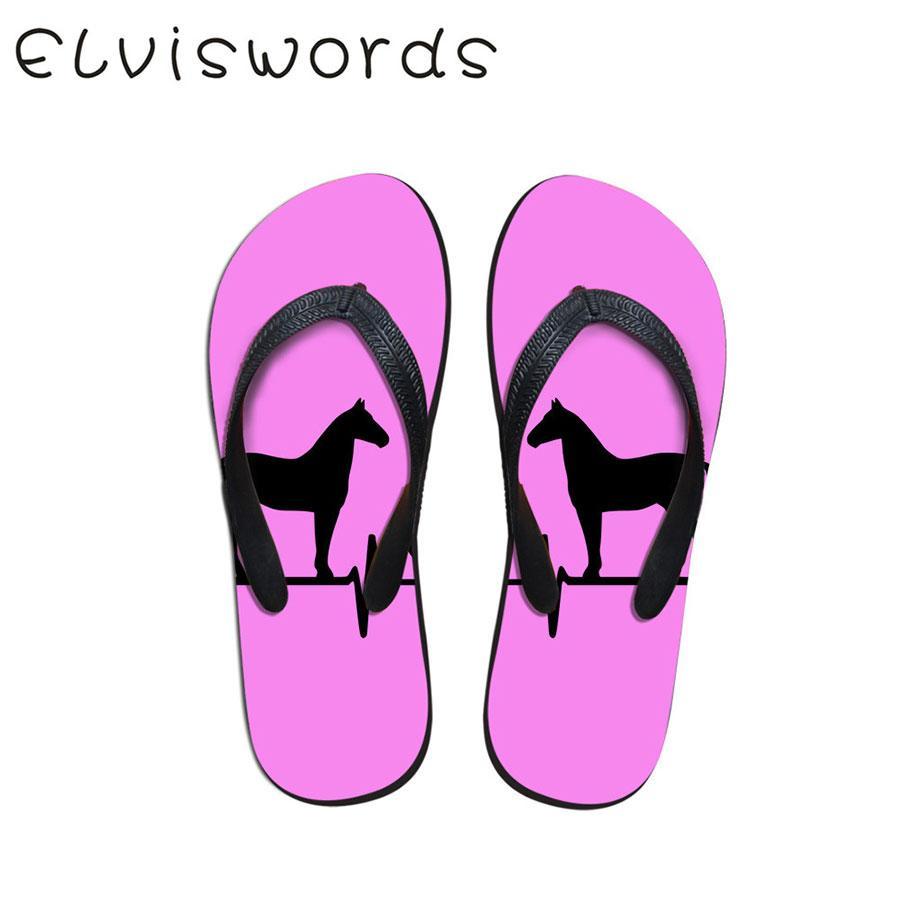 Calzado Informal Verano Inicio Mujer Impreso Pequeño Antideslizantes Playa Zapatillas De Chanclas Fresca Moda Caballo Lindo Plano X80wPkOn