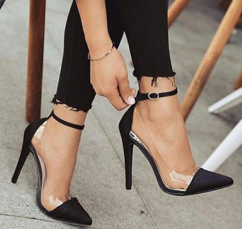6681d6b8fd47 Zapatos Mujer Thin High Heels Ankle Buckle Women Pump Ladies Wedding Shoes  Woman Sapato Jelly Clear Chaussure Bride Sexy P170779 Cheap Shoes For Men  Italian ...