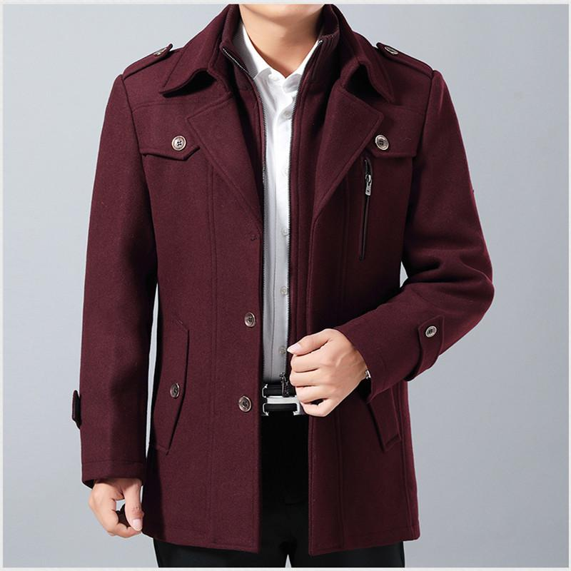 d858b825123 New Winter Thicken Wool Coat Slim Fit Jackets Fashion Outerwear Warm ...