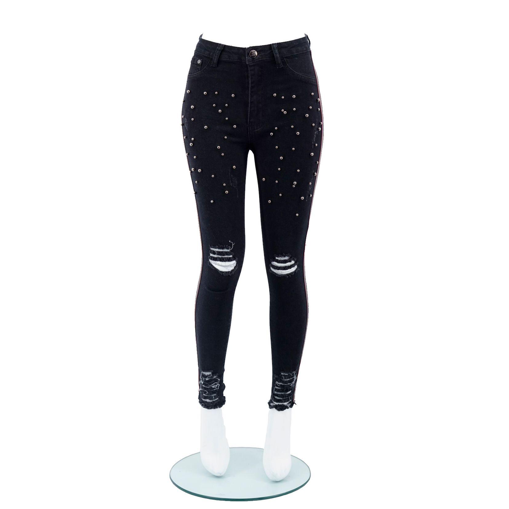 c0d35cf235f8 Women Sexy High Waist Skinny Stretch Jeans Denim Pants Fashion Popular Slim  Fit Elasticity Lift Hip Light Wash,Navy Blue,Pearl Hole Pants