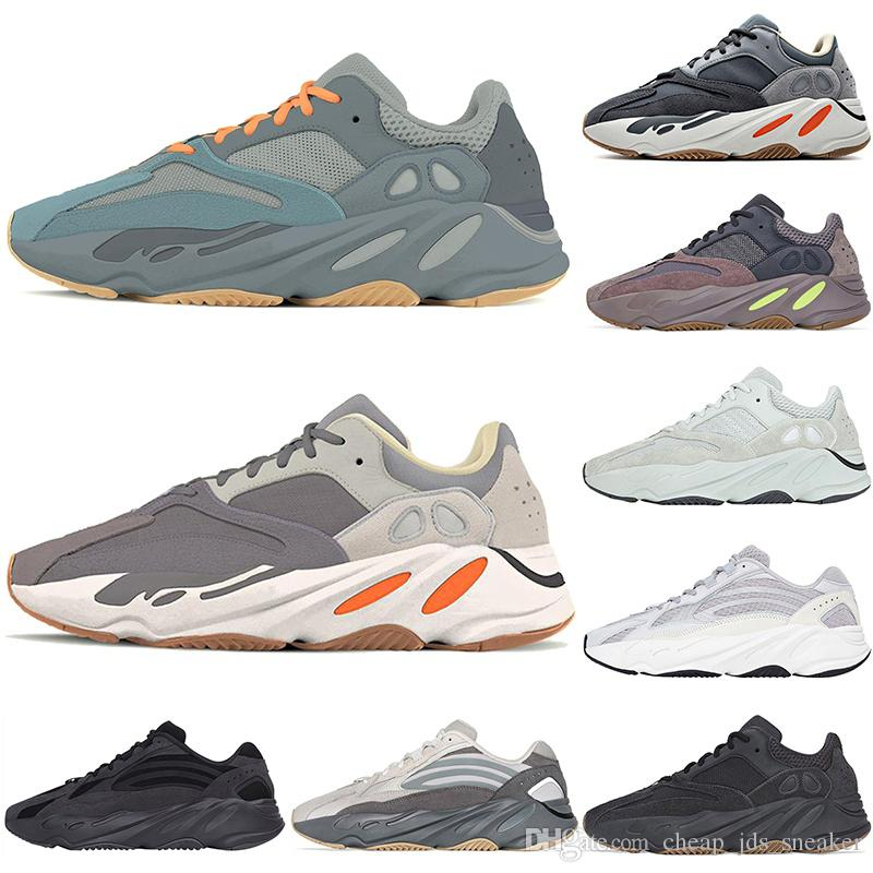 Hot 700 Teal Blu Magnet Kanye Uomini e Donne Running Shoes Ovest utilità nero Vanta corridore dell'onda statici Sport Sneakers des chaussures
