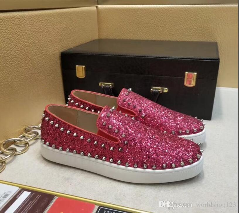 0aecfdb683 Genuine Leather With Glitter Men Luxury Shoes Red Bottom Pik Boats Shoes  Low Loafers Men Women Red Sole Sneaker Dress Casual Shoes Flat Spik