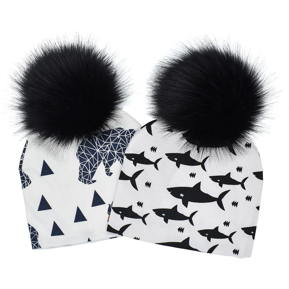 064a6e8fdc3 Baby Animals Prints Hat Pom Beanie Hats Panda Shark Bear Girls Boys Faux  Fur Pompom Ball Earmuffs Caps WWA15 Baby Animals Prints Hat Pom Beanie Hats  Faux ...