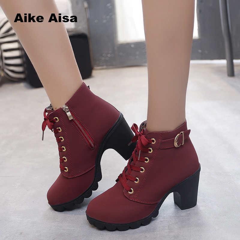 97ef26f04e9 Acheter Chaussures Plus La Taille 35 43 Hiver Casual Femmes Pompes Chaud  Bottines Étanche Talons Hauts Neige Martin Botas Brevet Botas Muje A05 De   25.17 Du ...
