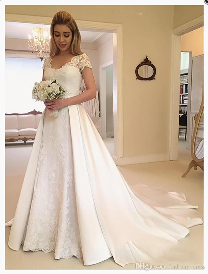 Bow New Removable Skirt Lace Short Sleeve Satin Plus Size Princess Long Chapel Train Wedding Dress A Line Custom Appliques Bridal Gowns