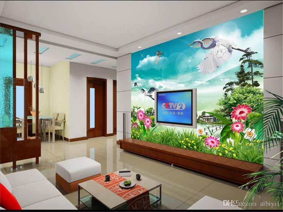 custom size 3d photo wallpaper living room mural flowers and birds lake scenery 3d picture sofa TV backdrop wallpaper non-woven wall sticker