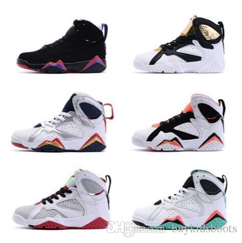 Niños Niñas 7s Zapatillas de baloncesto infantiles para niños Blanco Negro Oro Niños Deportes 7 Zapatillas deportivas con caja original KIDS 8382