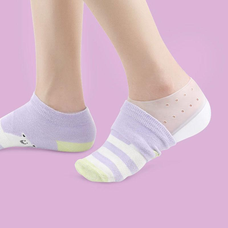 Invisible Height Increase Heel Pads Silicone Insole Foot Care Protector Soft Elastic Hollow Height Increasing Breathable Massage