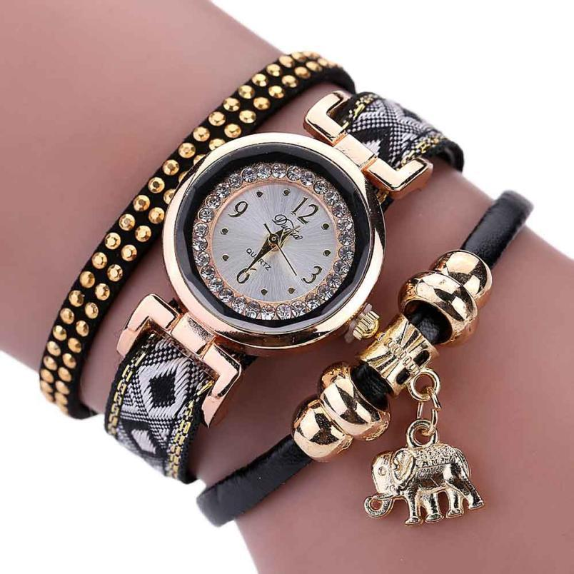 8 2017Newly Designed Feather Weave Wrap Around Bracelet Watch Crystal Synthetic Fashion Chain Watch LEVERT DROPSHIP328