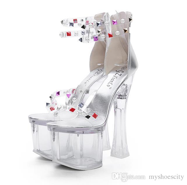 18cm Silver clear rivets transparent PVC platform ultra high heels sandals luxury designer shoes pumps size 34 to 39