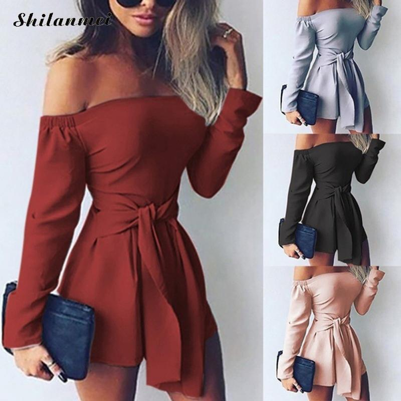 Hot Fashion Sexy Off Shoulder Playsuits Women Long Sleeve Bodycon Bandage Party Short Rompers Plus Size Elegant Ladies Overalls Y19072001