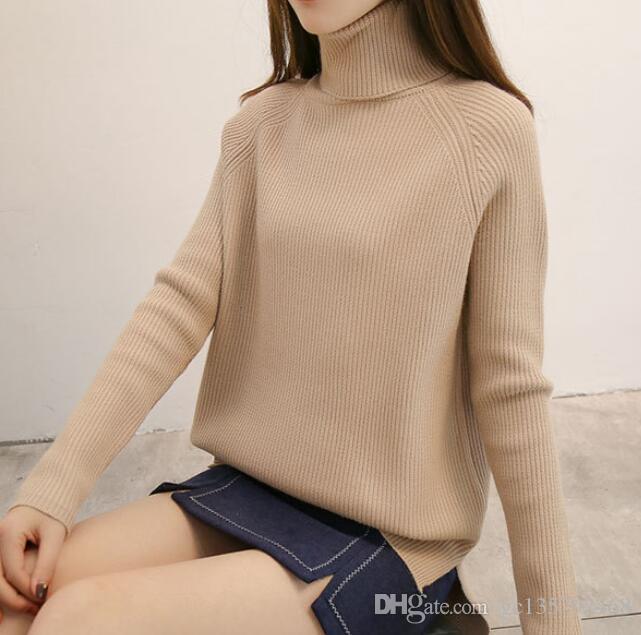 Compre Suéter De Color Liso Femenino 2018 Otoño E Invierno 140fdbc9e683