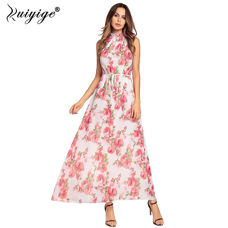 c577e3b80a 2019 Summer Halter Chiffon Boho Maxi Dress Floral Printed Off ...