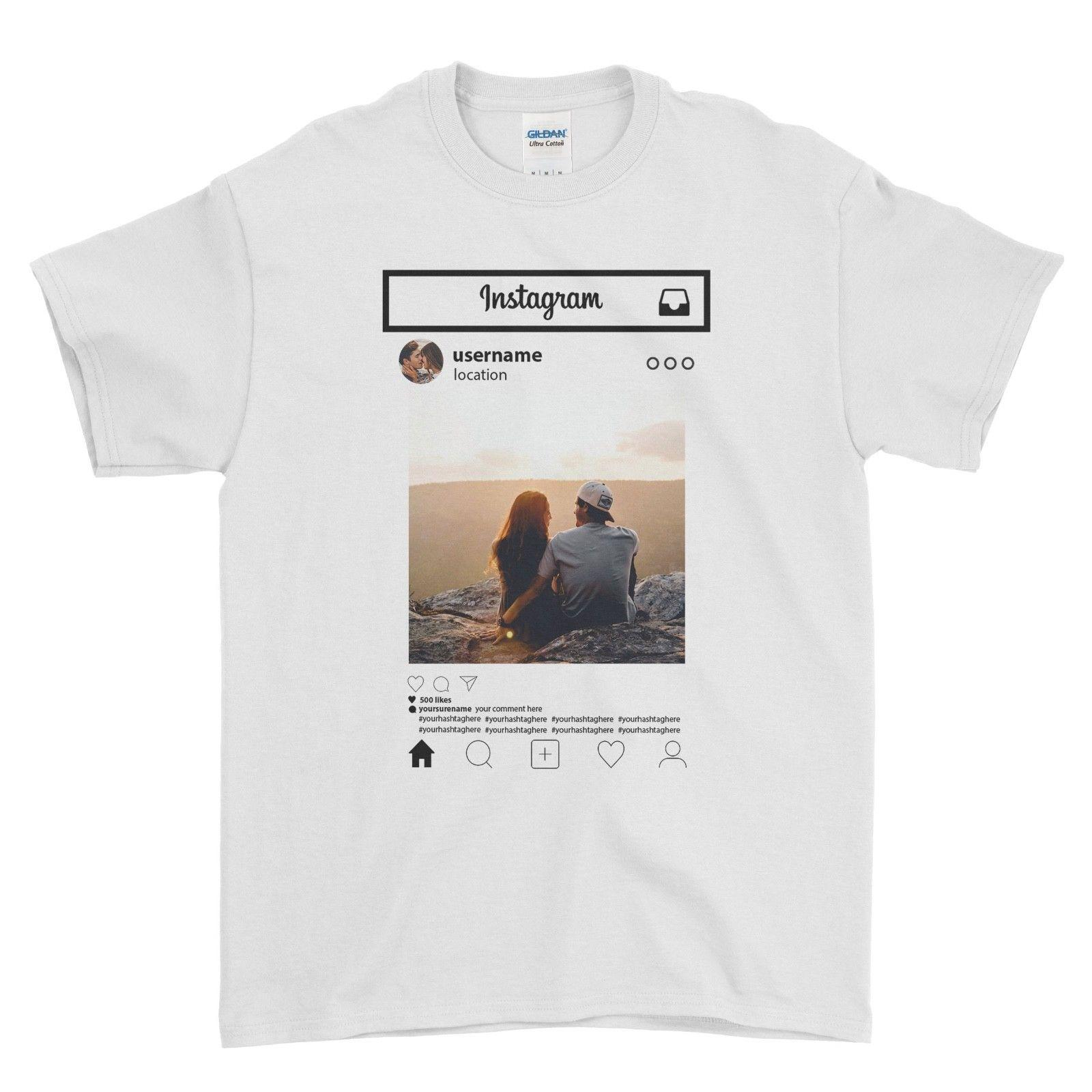 Personalised T Shirt Instagram Frame Style Insta Photo Image Custom Hen StagFunny free shipping Unisex Casual Tshirt top