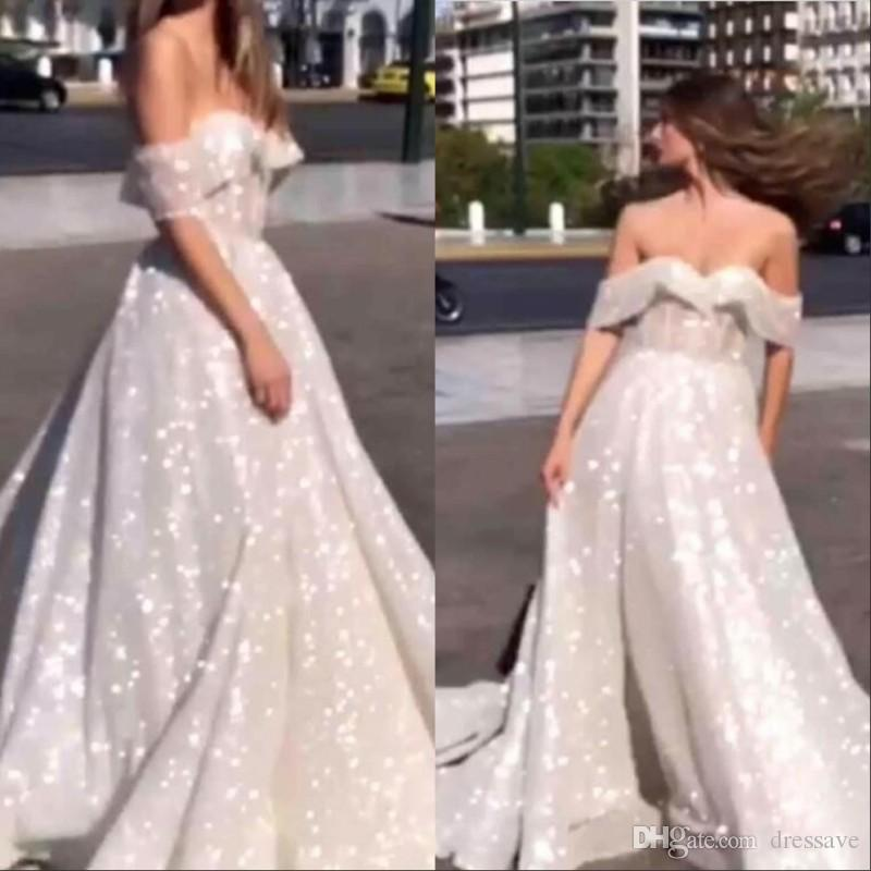 3e9e7276 Sparkly Sequin Tulle Arabic Wedding Dresses Glitter Glued Lace Off The  Shoulder A Line Puffy Brides Engagement Chapel Train Gowns Plus Size Wedding  Gowns ...