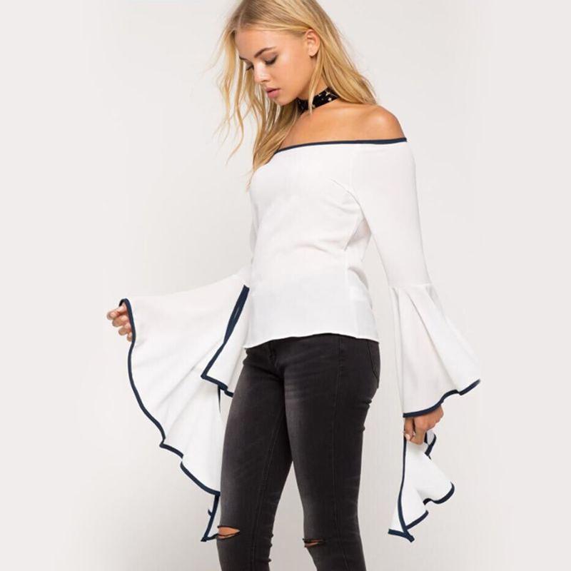 21d53ba41d4 2019 2019 Women Flouncing Flared Sleeve Tops Shirts Blouse Sexy Off Shoulder  Slash Neck Slim Tops Blusas From Jincaile08, $25.91 | DHgate.Com