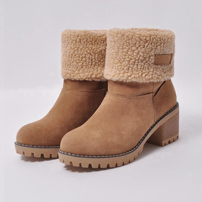 e02c1ce0d Compre ASILETO Marca Mujer Botas Mujer Zapatos De Invierno Mujer Piel  Caliente Botas De Nieve Tacones Cuadrados Bota Feminina Botines Botas Mujer  B675s A ...