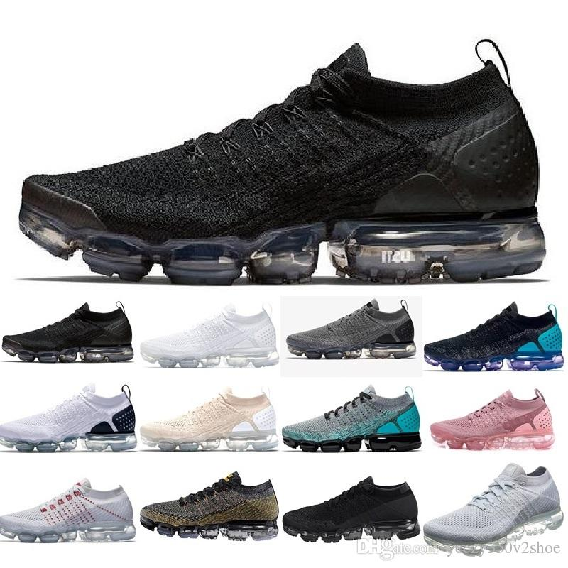finest selection 095bf 63d4d Compre Nike Air Vapormax Air Max Airmax Flyknit 2.0 1.0 Shoes New Air BE  TRUE Dorado Negro Rosa Mujer Hombre Diseñador Zapatillas Zapatillas De  Deporte ...