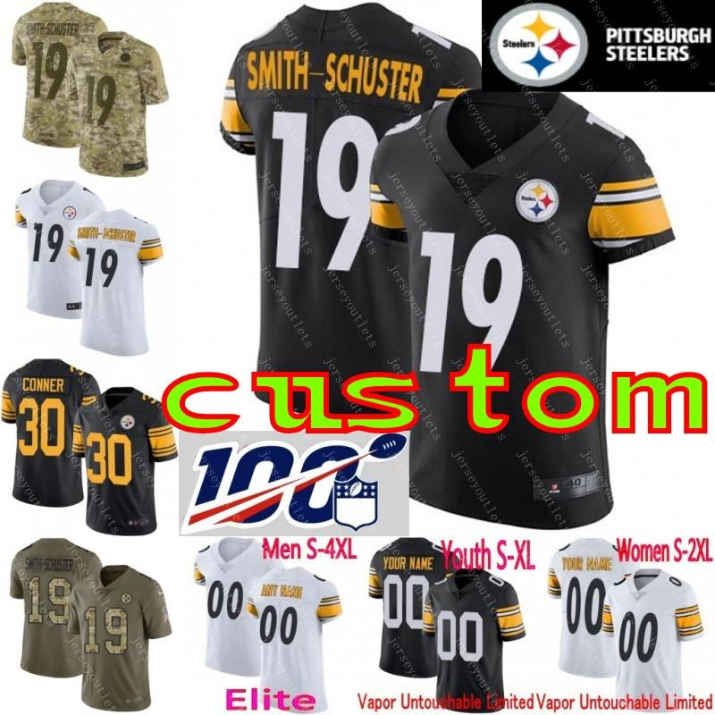 online store 0f1e9 0c136 100th anniversary custom Men's Youth Women uJu Smith-Schuster T.J. Watt  Villanueva Steelers James Conner Elite Limited camo Jersey 01