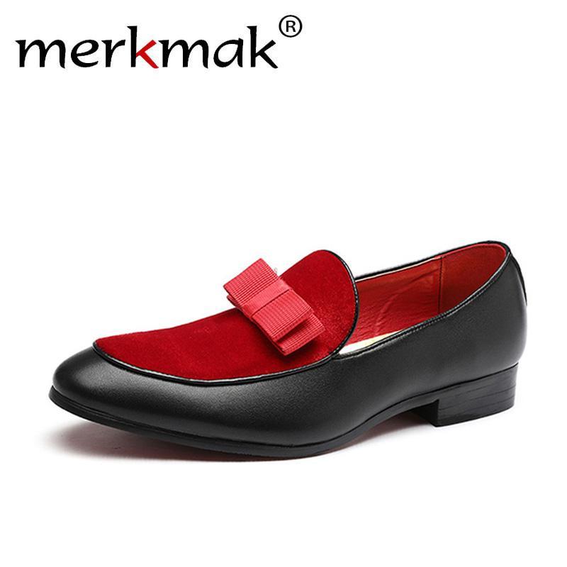 6f5b5a9b Compre Merkmak Nuevos Hombres Zapatos Marca De Lujo Resbalón Puntiagudo En  Los Holgazanes De Los Hombres Arco Nudo Banquete De Boda Superficial  Hombres ...