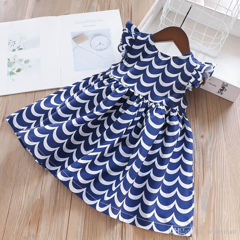 c06be3a6d6546 Baby Cute Girls Fly Sleeve Wave Ruffles Summer Dress Sweet Child Holiday  Fashion Lovely Clothes