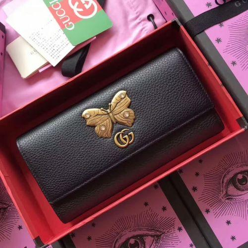 New diamond-encrusted butterfly pattern leather long ladies wallet wallet 499359 black CLUTCHES EVENING LONG CHAIN WALLETS COMPACT PURSE