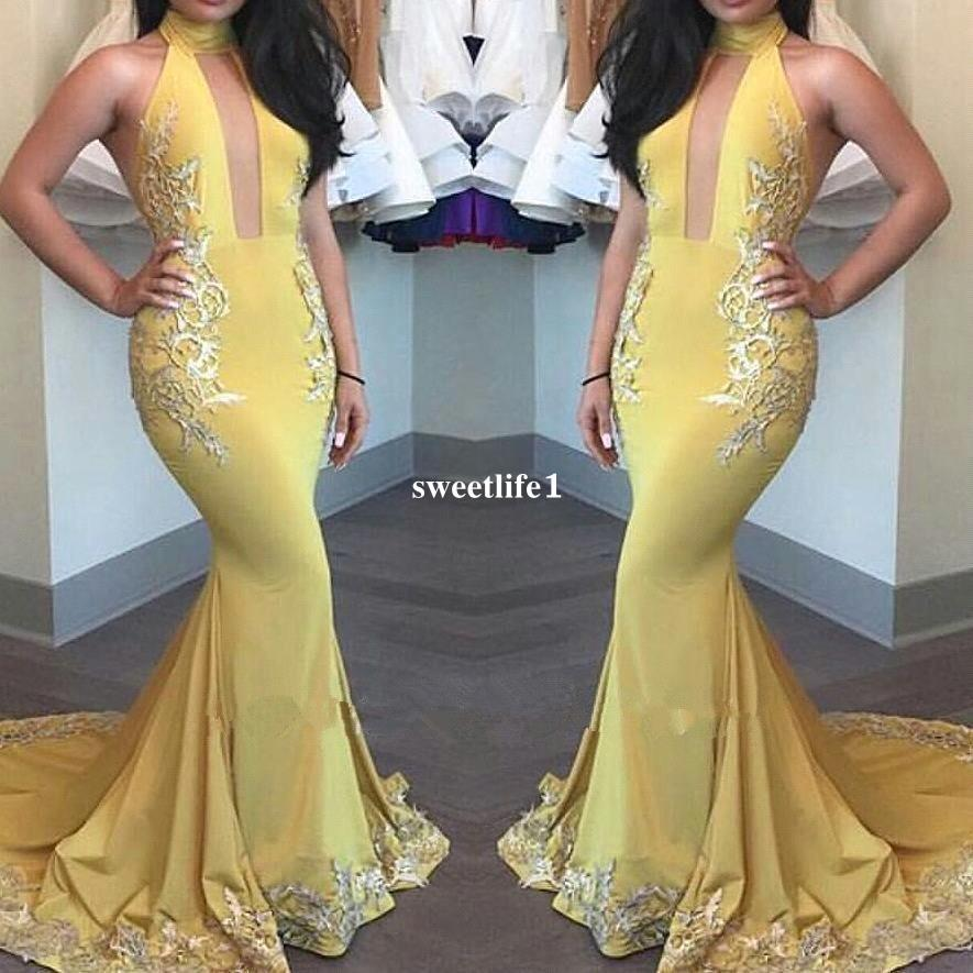 Long Mermaid Halter Yellow Prom Dresses 2019 Satin Lace Appliques Off The  Shoulder Zipper Up Court Train Party Dress Formal Eveing Dresses Formal  Dresses ... 2b99e8840