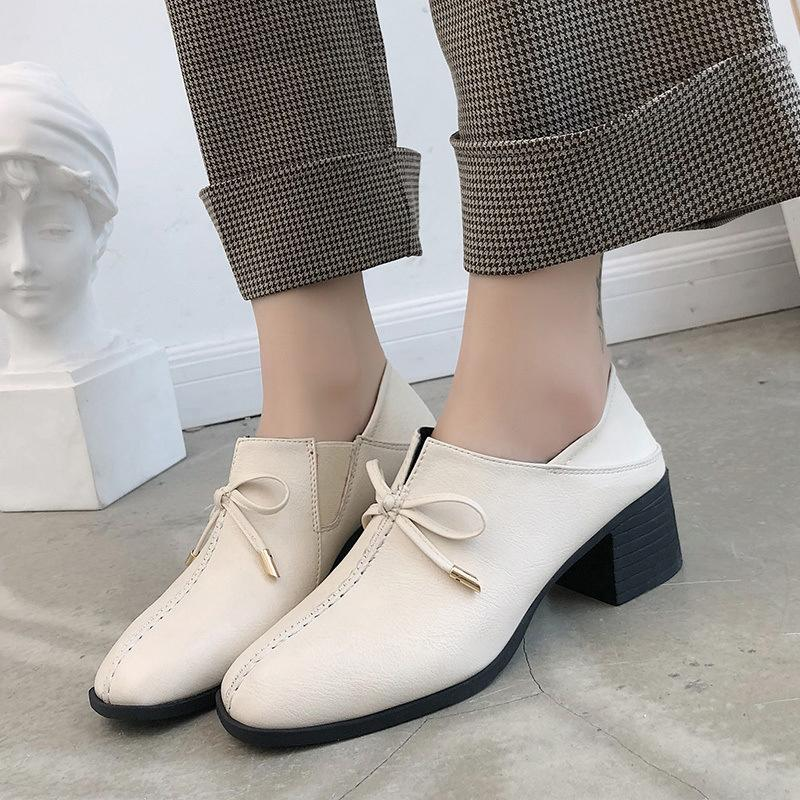 dbba035798d Spring Autumn Women Slip On Pu Pumps Square Toe Med Square Heel Ladies  Casual Fashion Shoes Black Beige Size 35 39 6o0302 Cheap Heels Comfort Shoes  From ...