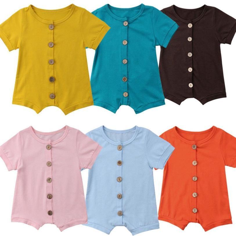 5c6856cb1cf46 6 Colors Designer Baby Baby Girl Boy Romper Clothes Solid Pink Blue Button  Summer Cotton Newborn Jumpsuit Newborn Romper Onesies for 0-24M