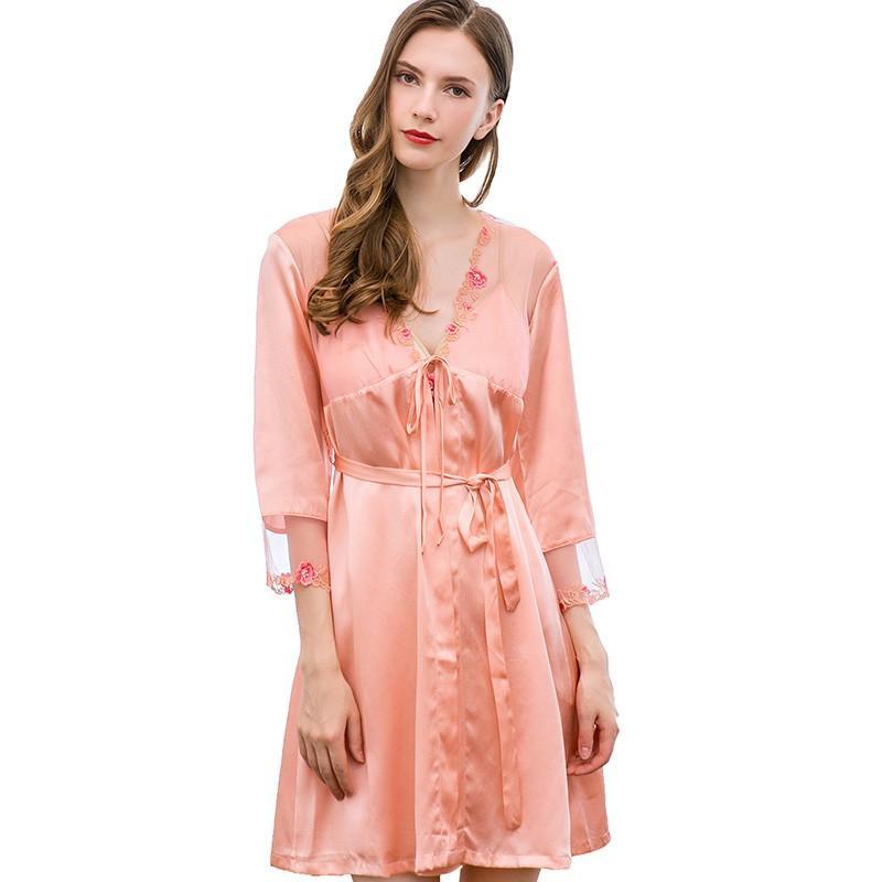 Women 100% Real Silk Pajamas 2019 Sexy Lace Sleepwear Pajamas ... e53d35469