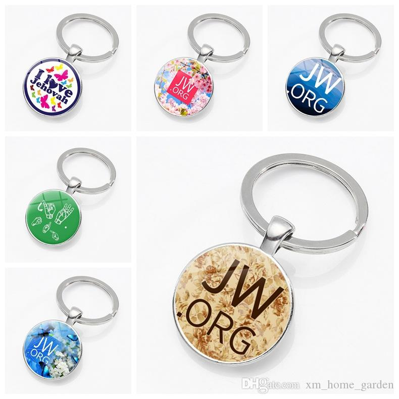 New 2018 JW ORG keychain Jehovah s Witnesses JW Pendant Glass Photo  Cabochon Keyring Car Key Charms Holder